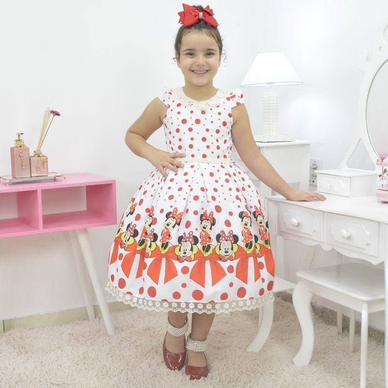 Vestido temático Minnie vermelha com poa luxuoso