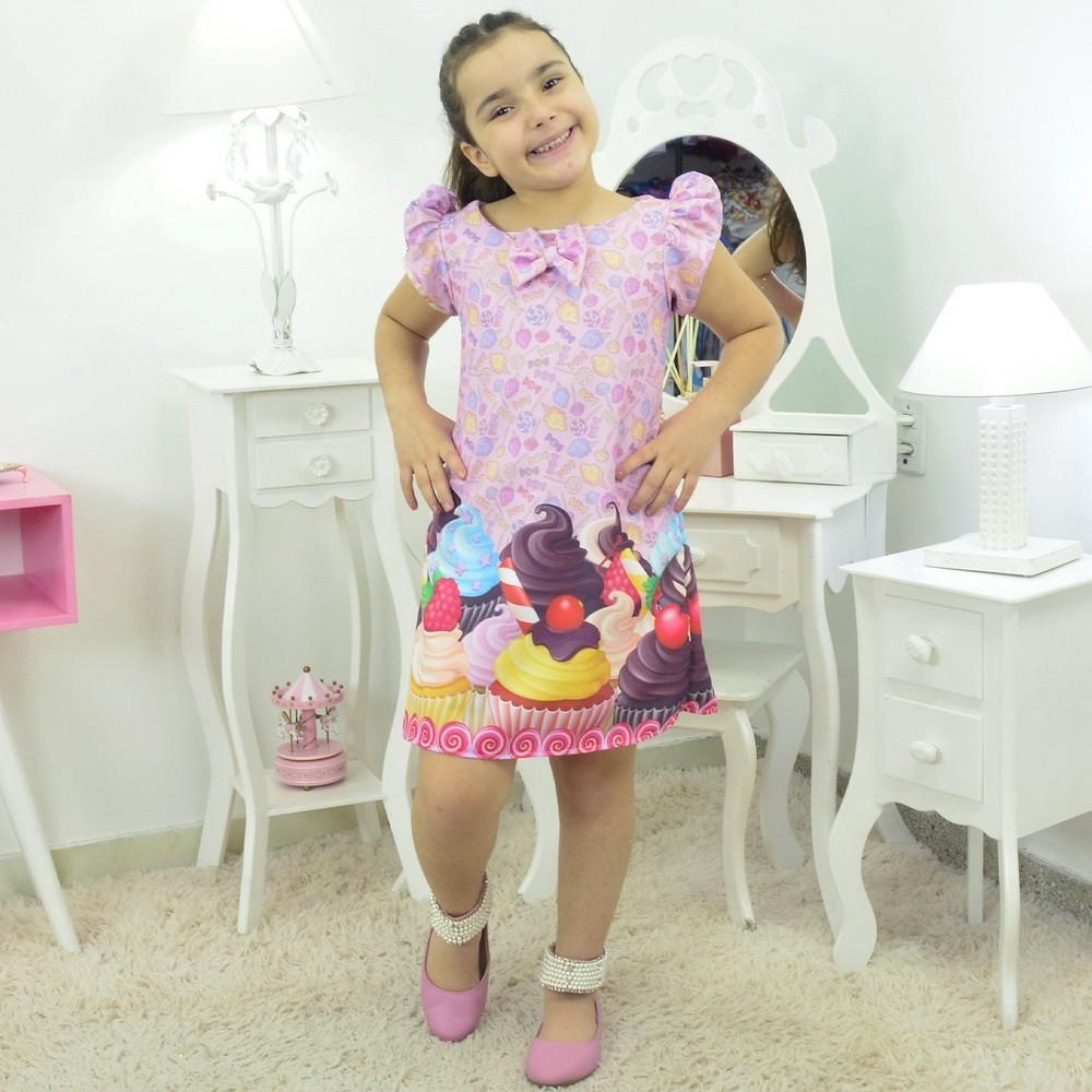 Vestido Trapézio Confeiteira Cupcake, Bolos e Doces
