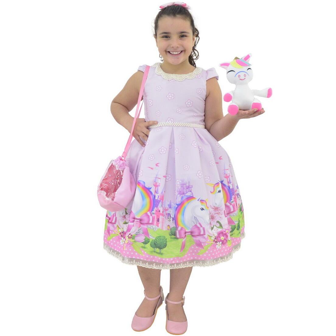 Vestido Unicórnio Rosa Com Bolsa e Pelúcia - 6 meses a 10 anos