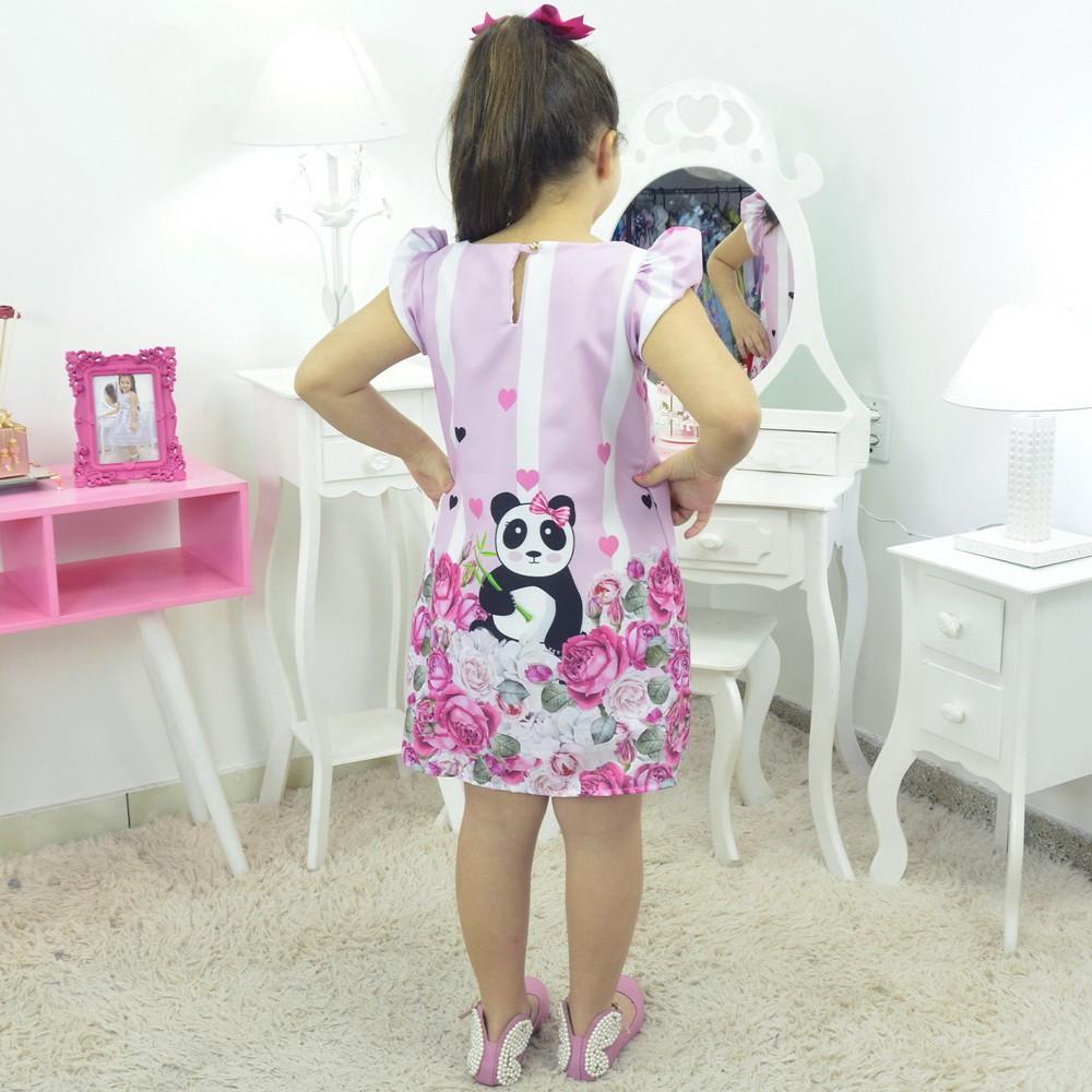Vestido Ursa Panda Rosa - Tubinho trapézio