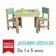 Joguinho Escolar Infantil (1 a 5 Anos) 2 cadeiras -  Madeira Maciça de Pinus - Tampo de Compensado com laminado.