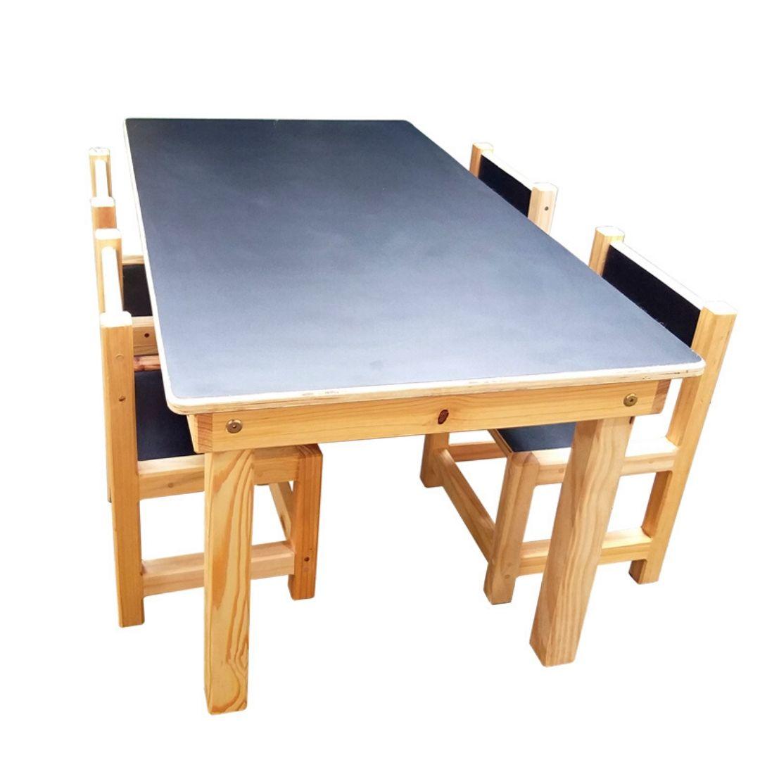 Joguinho Escolar Infantil 4 Cadeiras (1 a 5 Anos) ? Madeira Maciça de Pinus ? Tampo de Compensado Revestido com laminado