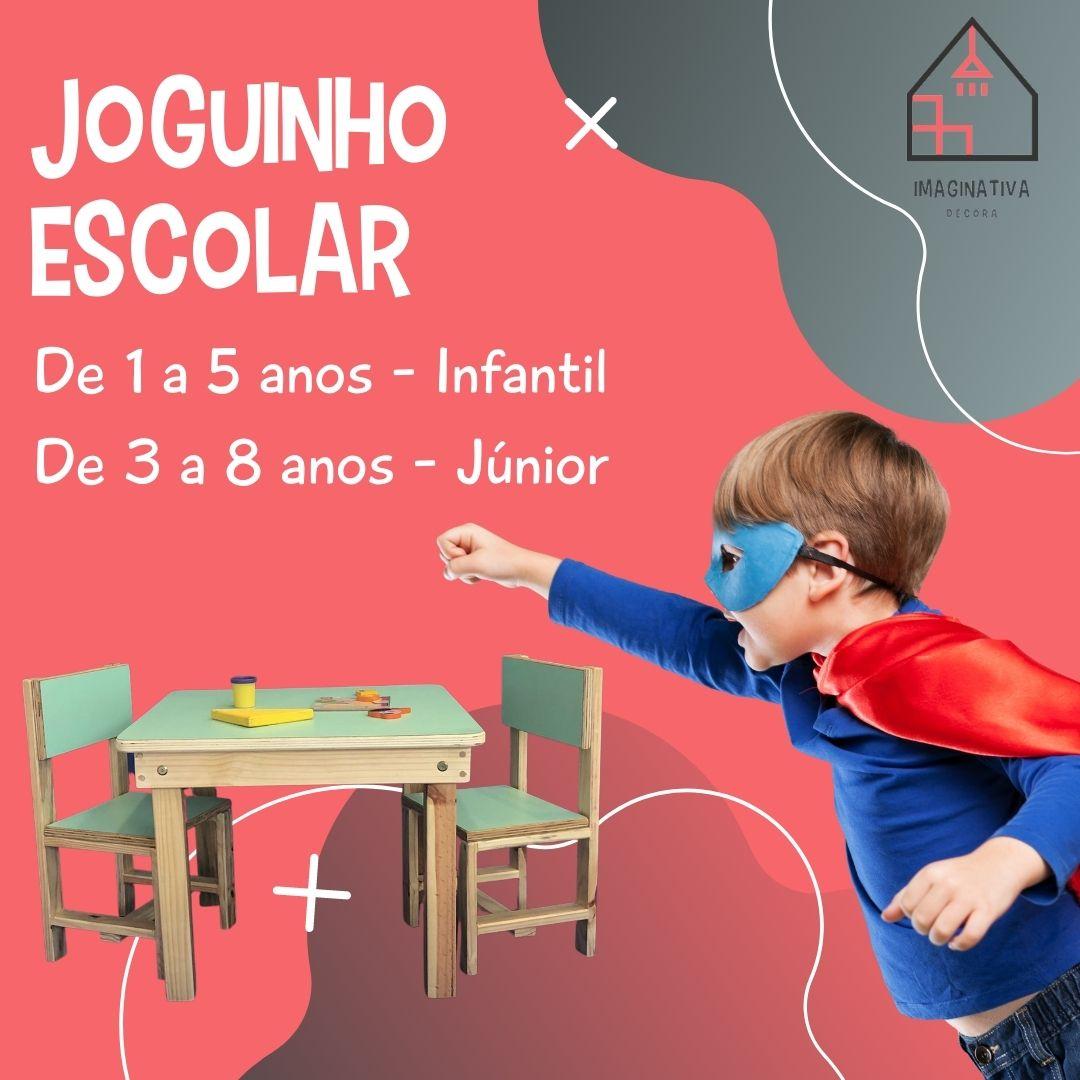 Joguinho Escolar Júnior (3 a 8 anos) 2 cadeiras - Madeira Maciça de Pinus - Tampo de Compensado Revestido com laminado