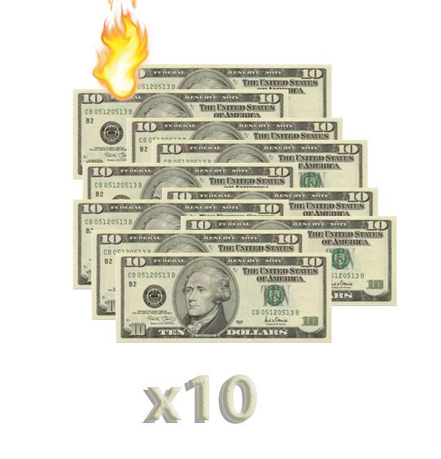 10 Burning Money - (Nota Flash) 10 Dólares. F+