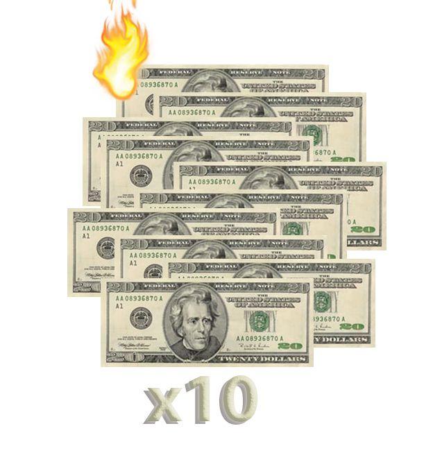 10 Burning Money - (Nota Flash) 20 Dólares F+