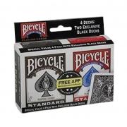 04 baralhos Standard Bicycle 2 Pretos e 2 Vermelhos  Black/red B+