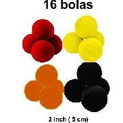 16 BOLAS DE ESPUMA 2 INCH  4PRETO/4LARANJA/4AMARELO/4VERMELHO