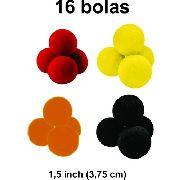 Bolas de espuma 16 unidades  1,5 Inch cores sortidas 4 Pretas/ 4 Amarelas / 4 Vermelhas / 4 Laranjas B+