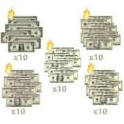 50 Burning Money - (Nota Flash) 1, 10, 20, 50, 100 dólares F+