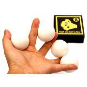 BOLAS EXCELSIOR - BORRACHA COR BRANCA 4,2 cm - 4 bolas 2 casquilhas