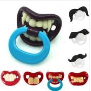 Chupeta ilusão de ótica engraçada com Bigode, dente , vampiro