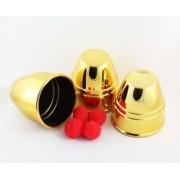 CUVILHETES CUPS AND BALLS PLASTICO DOURADO - JUMBO