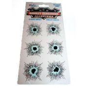 Imitação Vidro Quebrado -  6 Fake Bullet Holes D+