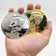 Jumbo Half Dollar moeda gigante prata ou dourada  B+