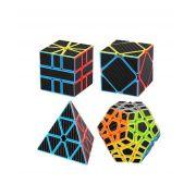 Kit Cubo Magico Carbono  One Black Carbon  4 Peças Moyu  Pyramin, Skewb,  Megaminx,  Square 1  B+ D