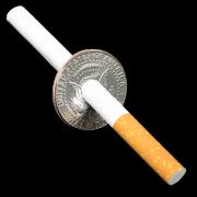 Moeda half dollar atravessada pelo cigarro  fabricação chines b+
