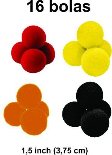 Bolas de espuma 16 unidades  1,5 Inch cores sortidas 4 Pretas/ 4 Amarelas / 4 Vermelhas / 4 Laranjas R+