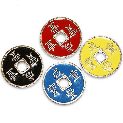 Chinese coin set - 4 moedas chinesas com 4 casquilhas b+