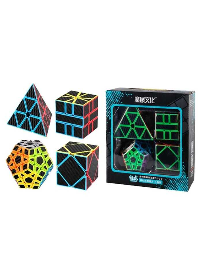 set Cubo Magico Carbono  One Black Carbon  4 Peças Moyu  Pyramin, Skewb,  Megaminx,  Square 1  B+ D