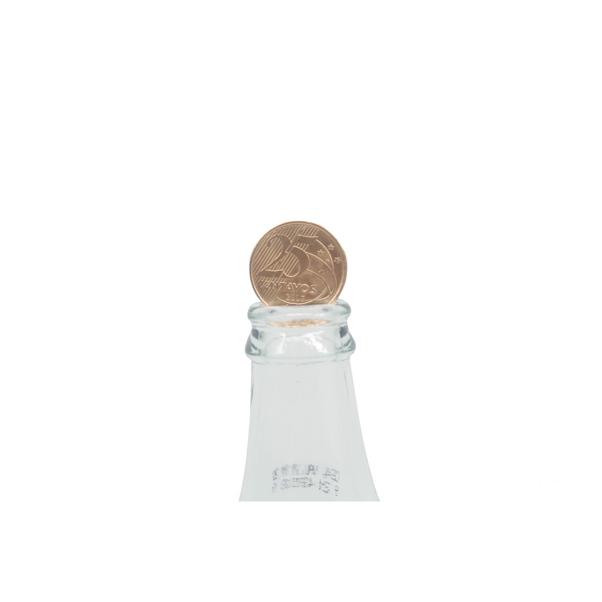 Moeda na garrafa - 25 centavos dourada com livreto B+