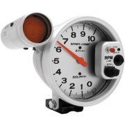 """Contagiros 10.000 Rpm - Elétrico - 5"""" com Shift-Lite Gd - Sport Comp Silver - AUTO METER"""