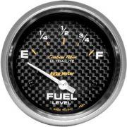 """Instrumento Medir Nível Combustível GM - (0 Ω E / 90 Ω F) - Elétrico - 2"""" 5/8"""" - Carbon Fiber - AUTO METER"""
