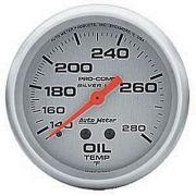 """Instrumento Temperatura de Óleo 140º - 280º F - Mecânico - 2"""" 5/8""""  - Pro-Comp Silver - Com Líquido - AUTO METER"""