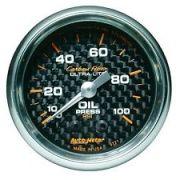 """Manômetro Pressão de Óleo 0-100 PSI - Mecânico - 2"""" 1/16"""" - Carbon Fiber - AUTO METER"""