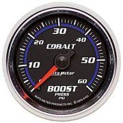 """Manômetro Pressão Turbo 0-60 PSI - Mecânico - 2"""" 1/16"""" - Cobalt - AUTO METER"""