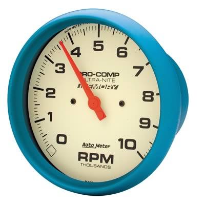 """Contagiros 10.000 Rpm com Memória - Elétrico - 5"""" - Ultra-Nite (Fosforescente) - AUTO METER  - PRO-1 Serious Performance"""