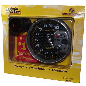 """Contagiros 10.000 Rpm com Shift-Lite Grande - Elétrico - 5"""" - Carbon Fiber - AUTO METER  - PRO-1 Serious Performance"""