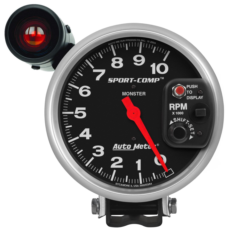 "Contagiros 10.000 Rpm - Elétrico - 5"" com Shift-Lite Gd - Sport Comp - AUTO METER  - PRO-1 Serious Performance"