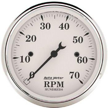 """Contagiros 7000 Rpm - Elétrico - 3 1/8"""" - Old Tyme White - AUTO METER  - PRO-1 Serious Performance"""