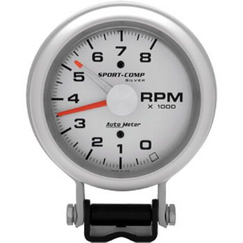 "Contagiros 8000 Rpm - Elétrico - 3 3/4"" - Sport Comp Silver - AUTO METER  - PRO-1 Serious Performance"