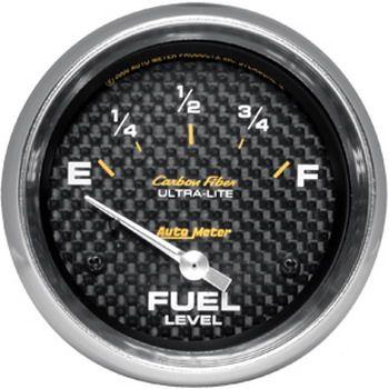 "Instrumento Medir Nível Combustível - (240 Ω E / 33 Ω F) - Elétrico - 2"" 5/8"" - Carbon Fiber - AUTO METER  - PRO-1 Serious Performance"