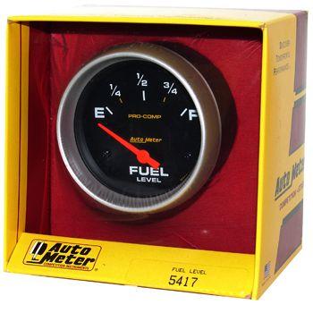 "Instrumento Medir Nível Combustível - (240 Ω E / 33 Ω F) - Elétrico - 2"" 5/8"" - Pro-Comp - AUTO METER  - PRO-1 Serious Performance"