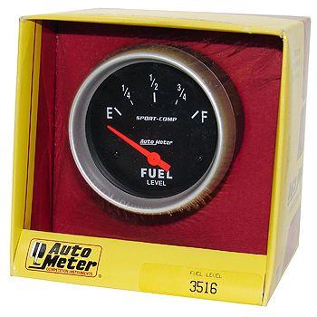 "Instrumento Medir Nível Combustível - (240 Ω E / 33 Ω F) - Elétrico - 2 5/8"" - Sport Comp - AUTO METER  - PRO-1 Serious Performance"
