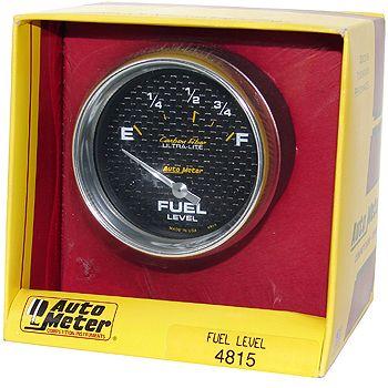 "Instrumento Medir Nível Combustível Ford/Mopar - (73 Ω E / 10 Ω F) - Elétrico - 2"" 5/8"" - Carbon Fiber - AUTO METER  - PRO-1 Serious Performance"
