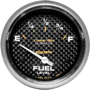 "Instrumento Medir Nível Combustível GM - (0 Ω E / 90 Ω F) - Elétrico - 2"" 5/8"" - Carbon Fiber - AUTO METER  - PRO-1 Serious Performance"