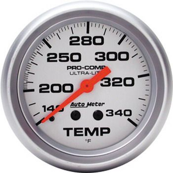 "Instrumento Medir Temperatura 140º - 340º F - Mecânico - 2"" 5/8"" - Ultra-Lite - 8 Ft. - AUTO METER  - PRO-1 Serious Performance"