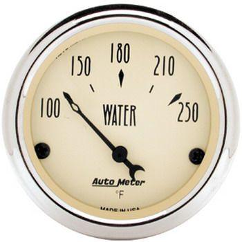 "Instrumento Medir Temperatura Água 100º - 250º F - Elétrico - 2 1/16"" - Antique Beige - AUTO METER  - PRO-1 Serious Performance"
