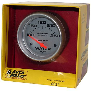"Instrumento Medir Temperatura Água 100º - 250º F - Elétrico - 2 5/8"" - Ultra-Lite - AUTO METER  - PRO-1 Serious Performance"