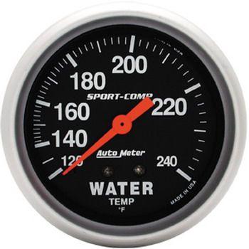 "Instrumento Medir Temperatura Água 120º - 240º F - Mecânico - 2 5/8"" - Sport Comp - AUTO METER  - PRO-1 Serious Performance"
