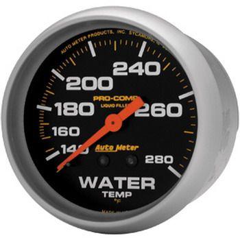 """Instrumento Medir Temperatura Água 140º - 280º F - Mecânico - 2"""" 5/8"""" - Pro-Comp com Liquido - 6 Ft. - AUTO METER  - PRO-1 Serious Performance"""