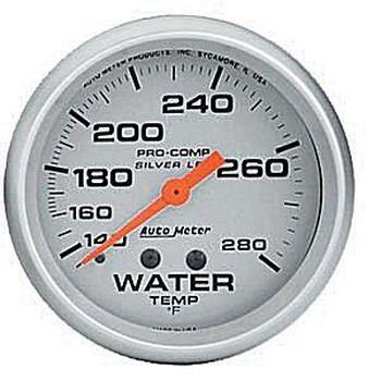 "Instrumento Medir Temperatura Água 140º - 280º F - Mecânico - 2"" 5/8""- Pro Comp Silver com Líquido - AUTO METER  - PRO-1 Serious Performance"