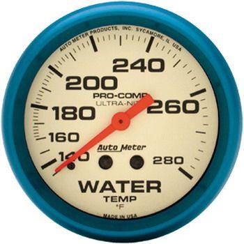 "Instrumento Medir Temperatura Água 140º - 280º F - Mecânico - 2"" 5/8"" - Ultra-Nite - 6 Ft. (Fosforescente) - AUTO METER  - PRO-1 Serious Performance"