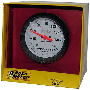 "Instrumento Medir Temperatura Gases Escape 0º - 1600º F - Elétrico -2"" 5/8"" - Phantom - AUTO METER  - PRO-1 Serious Performance"