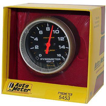 "Instrumento Medir Temperatura Gases Escape 0º - 1600º F - Eletrico -2"" 5/8"" - Pro-Comp - AUTO METER  - PRO-1 Serious Performance"