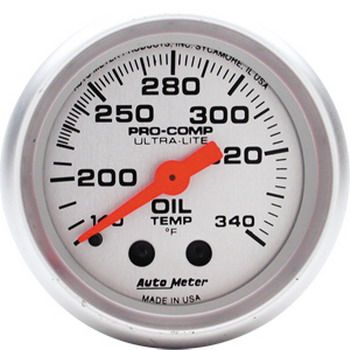 "Instrumento Temperatura de Óleo - Mecânico - 2"" 1/16""- Ultra-Lite  - AUTO METER  - PRO-1 Serious Performance"