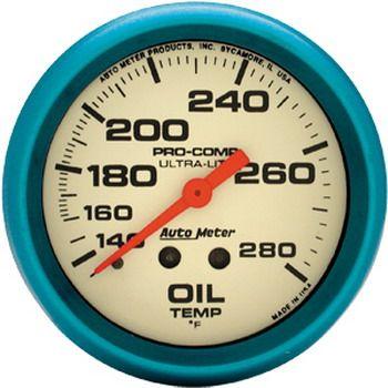 "Instrumento Temperatura de Óleo - Mecânico - 2"" 5/8"" - Imperial - Ultra-Nite (Fosferecente) - AUTO METER  - PRO-1 Serious Performance"